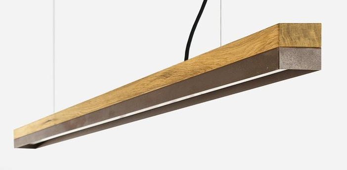Suspension c3o chene acier corten led l182cm h8cm gantlights normal