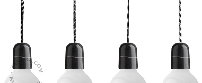 Suspension cable textile noir or douille e27 rosace et douille en marbre noire zangra normal