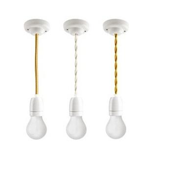 Suspension cable textile tresse blanc 1m douille e27 rosace et douille en porcelaine blanche zangra copy of 5415249039585 normal