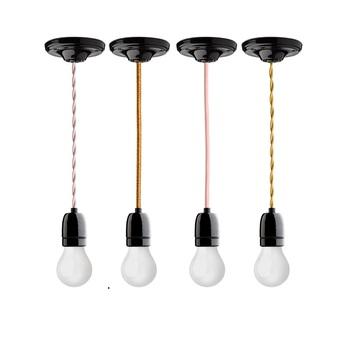 Suspension cable textile tresse blanc douille e27 rosace et douille en porcelaine noire zangra copy of normal