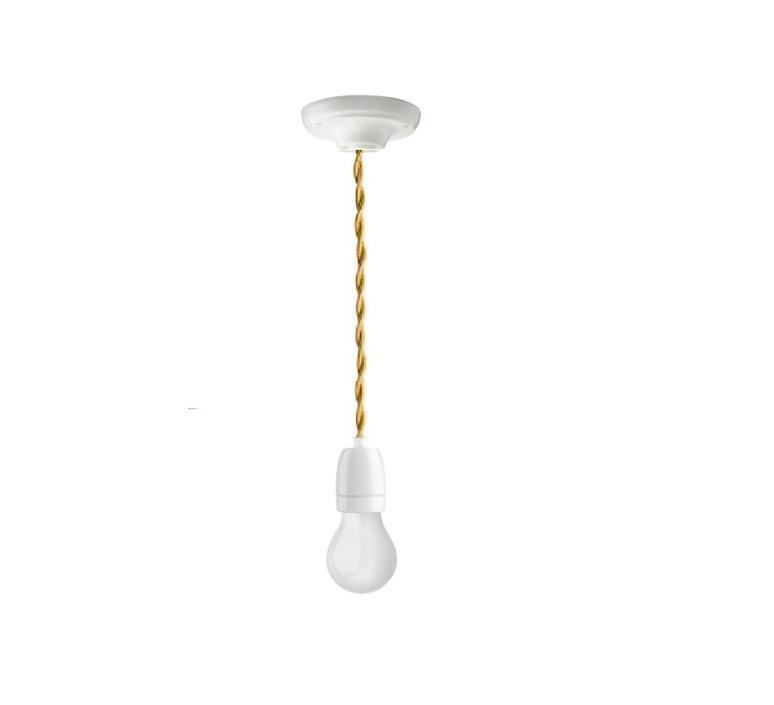 Suspension cable textile tresse bleu 1m douille e27 rosace et douille en porcelaine blanche zangra 85367 product
