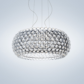 Suspension caboche plus grande transparent led 2700k 3850lm o70cm h28cm foscarini normal
