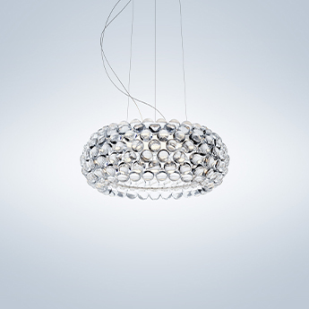Suspension caboche plus media transparent led 2700k 3200lm o50cm h20cm foscarini normal