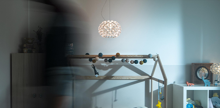 Suspension caboche plus piccola transparent led 2700k 1000lm o31cm h20cm foscarini normal
