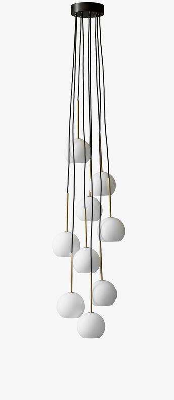 Suspension chandelier ice sr3 blanc opalin led o38cm h180cm andtradition normal