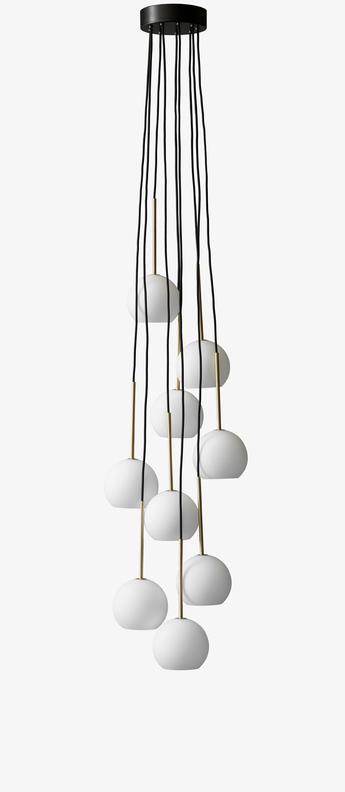 Suspension chandelier ice sr3 blanc opalin led o38cm h180cm andtradition normal