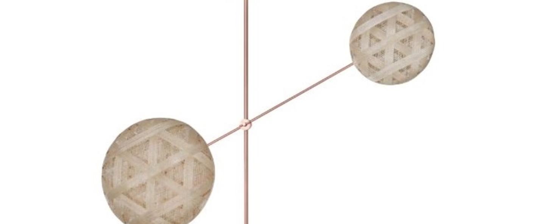 Suspension chanpen copper 2 lights beige h120cm o80cm forestier normal