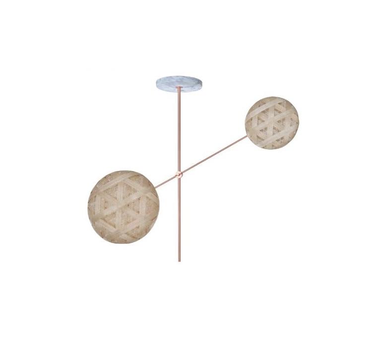 Chanpen copper 2 lights anon pairot suspension pendant light  forestier 20212  design signed 30739 product