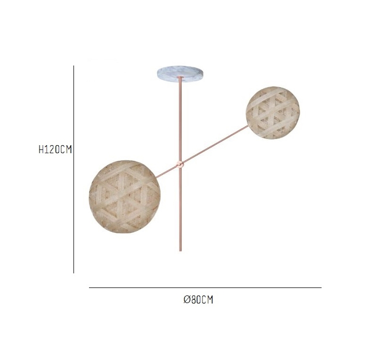 Chanpen copper 2 lights anon pairot suspension pendant light  forestier 20212  design signed 30740 product