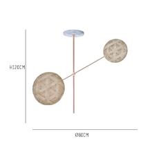 Chanpen copper 2 lights anon pairot suspension pendant light  forestier 20212  design signed 30740 thumb