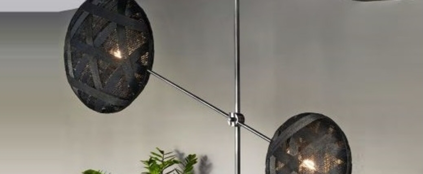 Suspension chanpen metal 2 lights noir h120cm o80cm forestier normal
