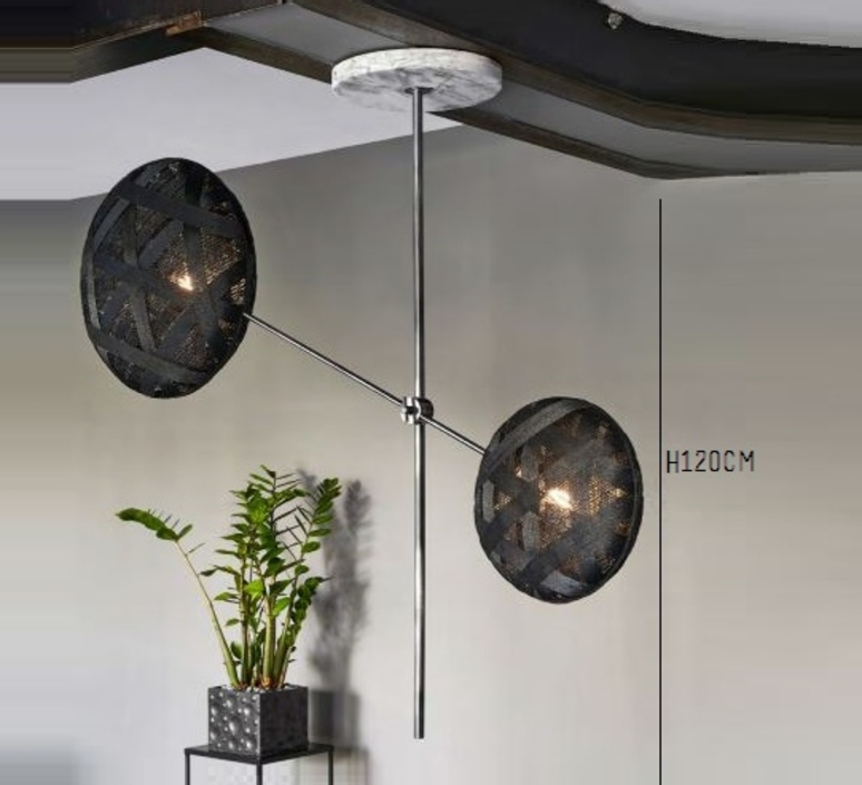 Chanpen metal 2 lights anon pairot suspension pendant light  forestier 20213  design signed 30742 product