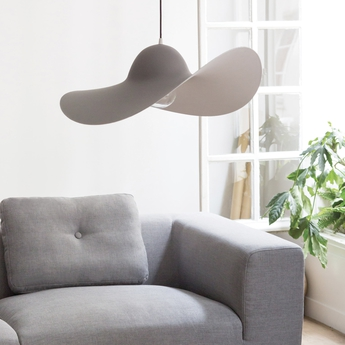 Suspension chapeau hat lamp gris o63cm eno studio normal