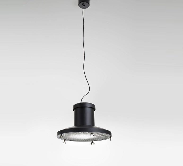 Chapeau enrico azzimonti zava chapeau suspension outside black 9005 with grid inside white 9010 luminaire lighting design signed 17562 product