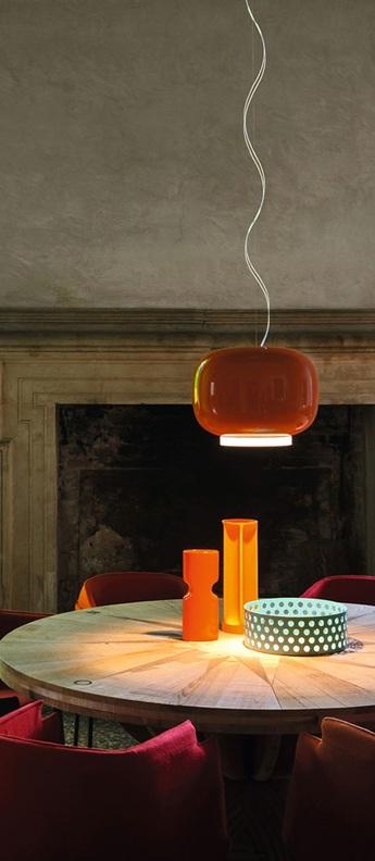 Suspension chouchin 1 orange led dimmable 2700k 2500lm o40cm h31cm foscarini normal
