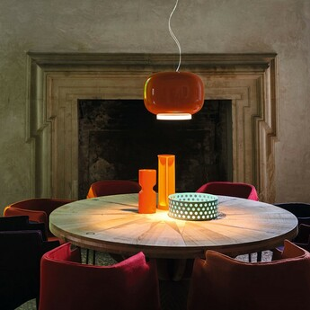 Suspension chouchin 1 orange led dimmable 2700k 2500lm o40cm h31cm foscarini normal