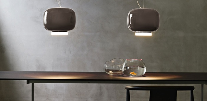 Suspension chouchin 3 gris led dimmable 2700k 2500lm o40cm h25cm foscarini normal