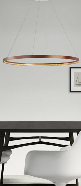 Suspension circle 80 cuivre brillant led 2700k 1400lm o82cm h2cm le deun normal