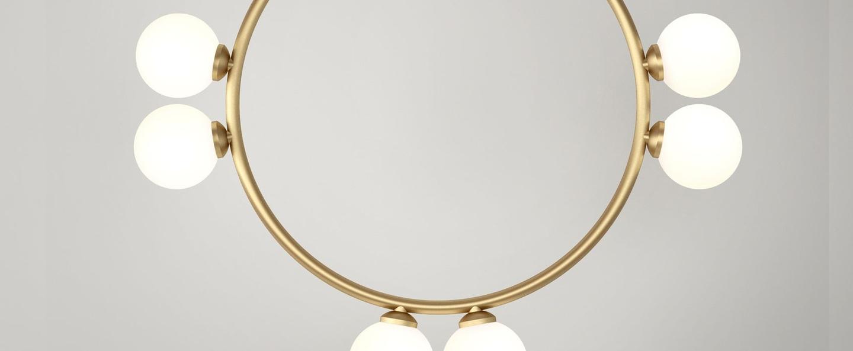 Suspension circle rhombus triangle 316 6 globes laiton o40cm h71 5cm atelier areti normal