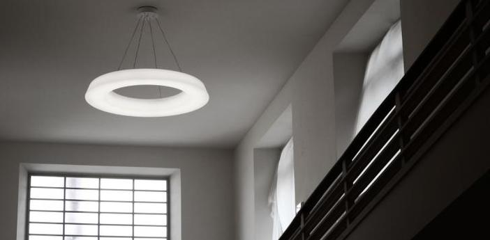 Suspension circular pol blanc led a variation o150cm h14cm martinelli luce normal