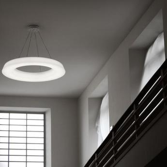 Suspension circular pol blanc led a variation o150cm h14cm martinelli luce normal