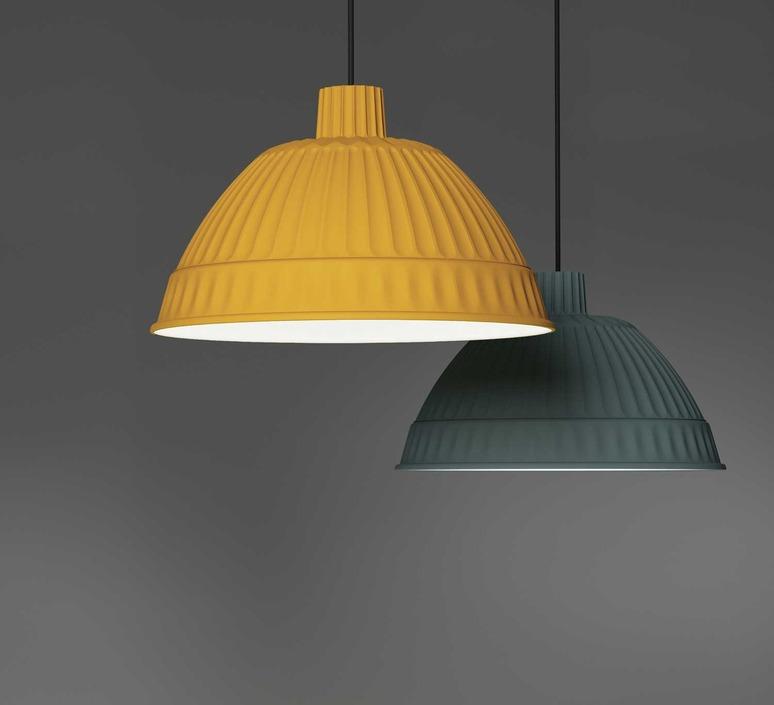 suspension cloche moutarde 45cm fontanaarte luminaires nedgis. Black Bedroom Furniture Sets. Home Design Ideas