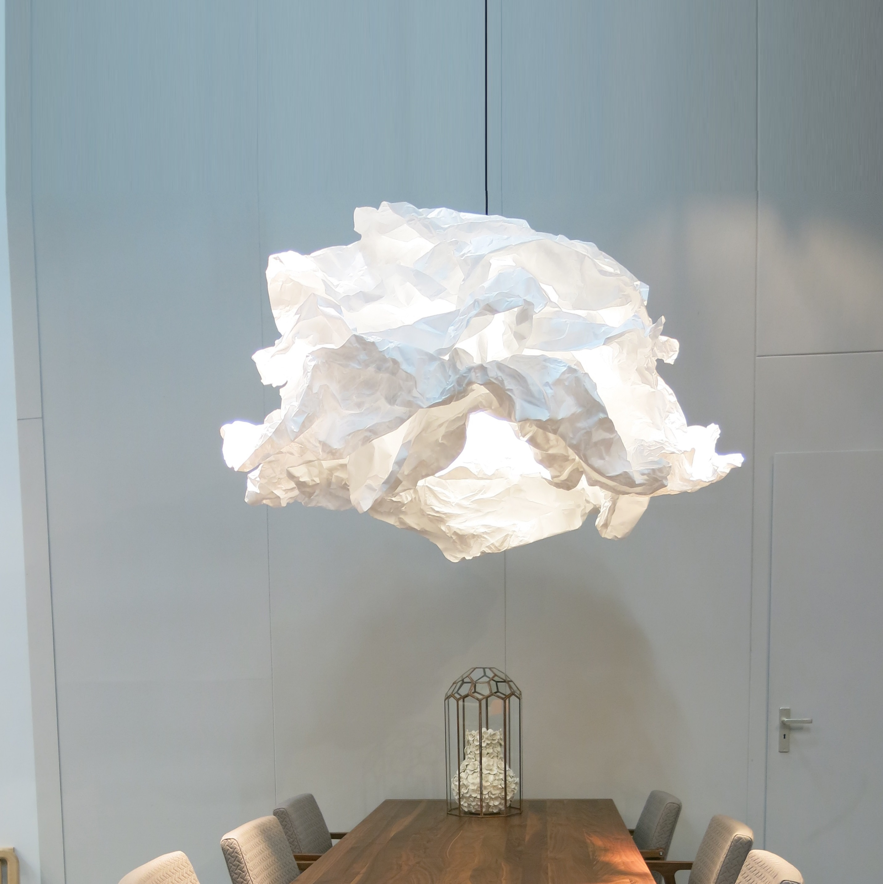 Suspension cloud nuage blanc 120cm proplamp for Suspension luminaire papier