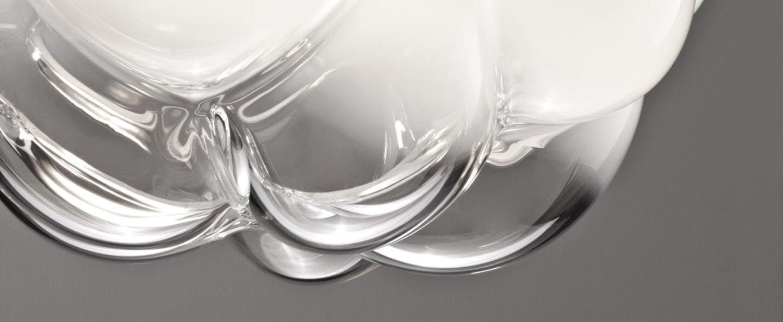 Suspension cloudy f21 transparent blanc o26cm h20cm fabbian normal