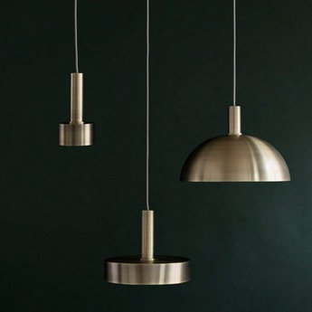 Suspension collect lighting brass and disc shade laiton led o12cm h24cm ferm living normal
