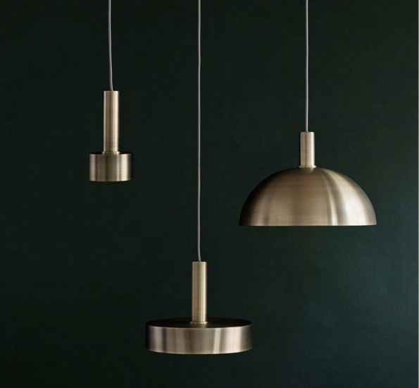 Suspension collect lighting brass and dome shade laiton for Lustre suspension triple