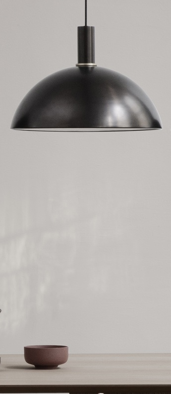 Suspension collect lighting socket low dome laiton noir l38cm o26 2cm ferm living normal