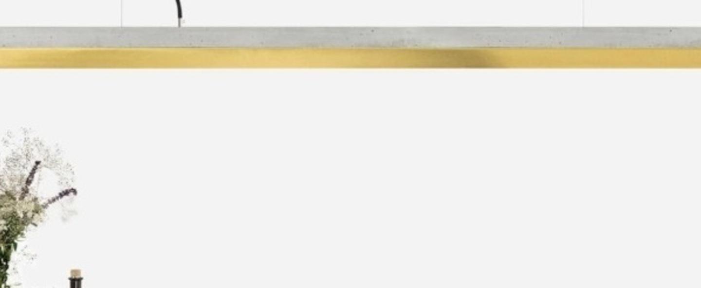 Suspension concrete brass long beton clair laiton led 4000k 2600lm l182cm h8cm gantlights normal