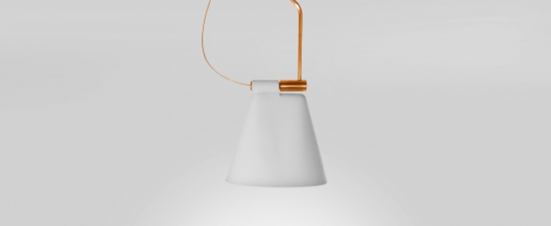 Suspension cone light s1 blanc mat cuivre l30cm h156cm b lux normal