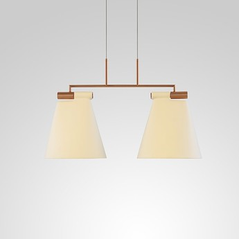 Suspension cone light s2 blanc mat cuivre l75cm h46cm b lux normal