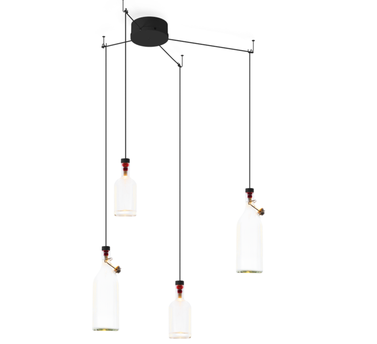 4 suspensions cork multi transparent 60cm wever ducre luminaires nedgis. Black Bedroom Furniture Sets. Home Design Ideas