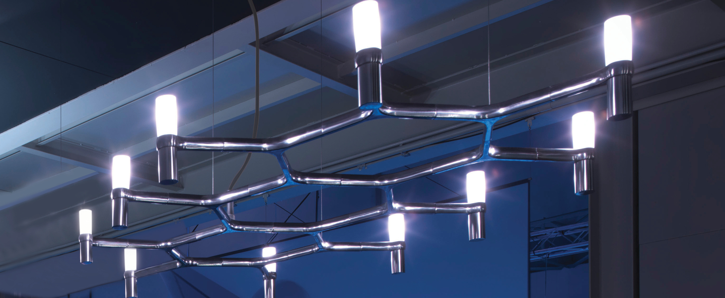 Suspension crown plana acier poli l150cm h16cm nemo lighting normal