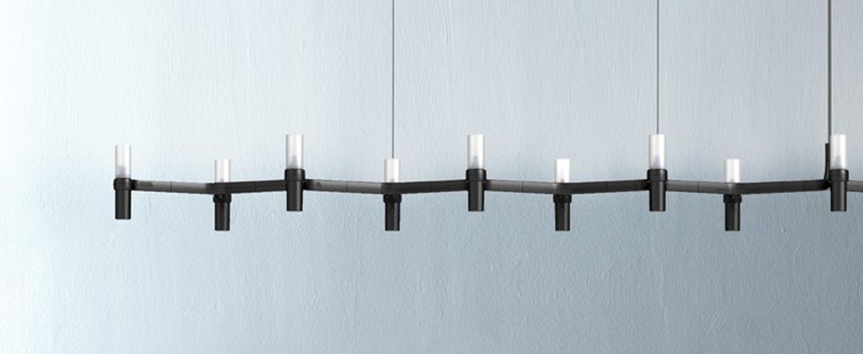Suspension crown plana linea noir l168cm h16cm nemo lighting normal