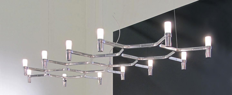 Suspension crown plana major acier poli l186cm h16cm nemo lighting normal