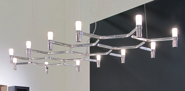 Suspension crown plana major acier poli l186cm h16cm nemo lighting normal