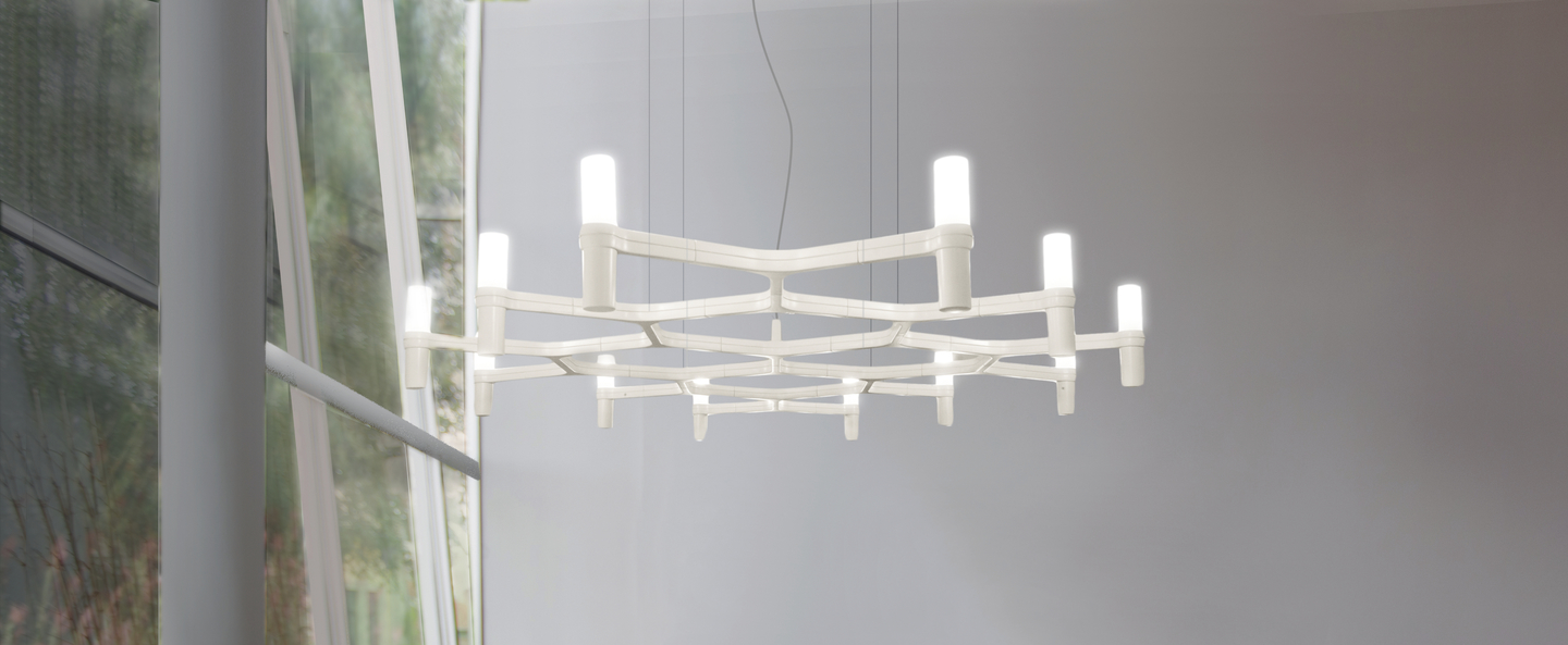 Suspension crown plana mega acier poli l172cm h16cm nemo lighting normal