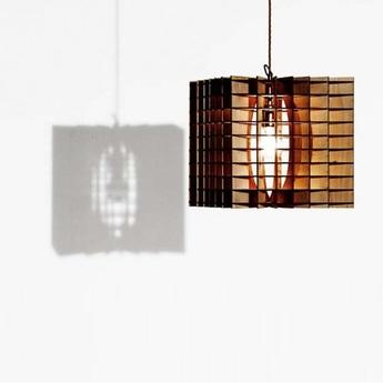 Suspension cube bois naturel o29cm massow design normal