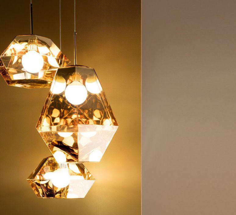 suspension, cut short, or, Ø44cm, h21cm - tom dixon - luminaires nedgis