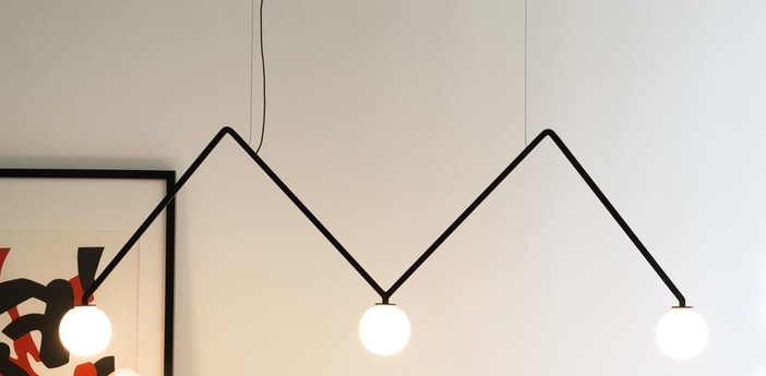 Suspension dabliu globe noir led 2700k 400lm l130cm h42cm nemo lighting normal