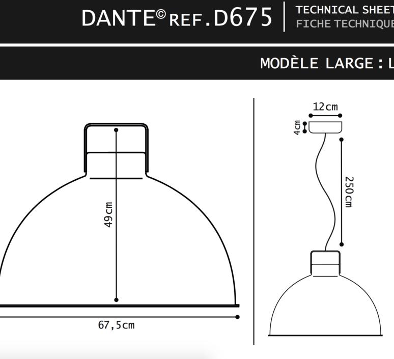 Dante 675 jean louis domecq suspension pendant light  jielde d675o ral9011  design signed 56077 product