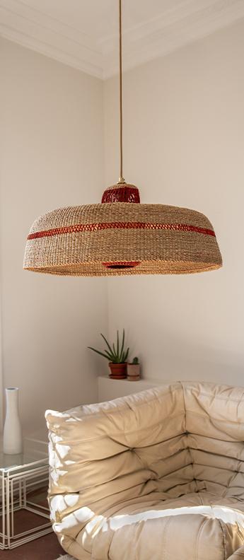 Suspension deeply lantern naturel gingembre o55cm h28cm golden editions normal