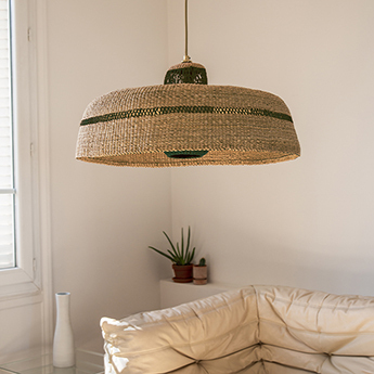 Suspension deeply lantern naturel herbe o55cm h28cm golden editions normal