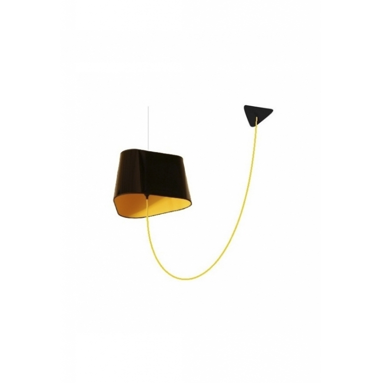 Suspension d port e grand nuage noir jaune fil jaune for Luminaire suspension deportee