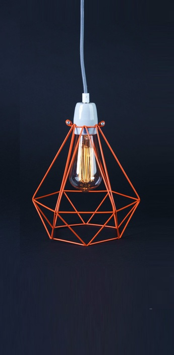 Suspension diamond 1 orange gris h28cm filamentstyle normal