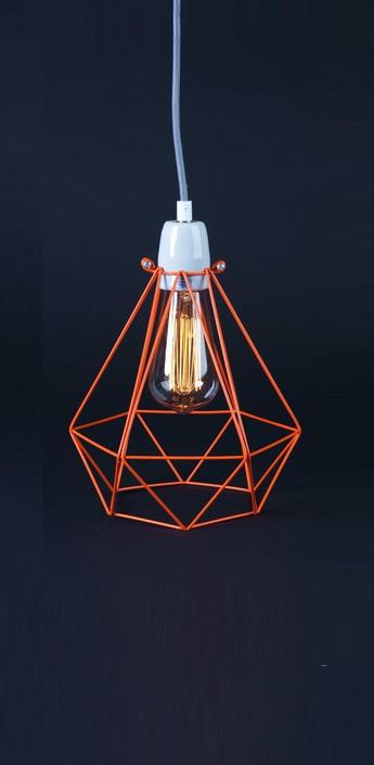 Suspension diamond 1 orange gris h28cm filamentstyle normal