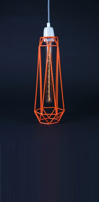 Suspension diamond 2 orange gris h43cm filamentstyle normal